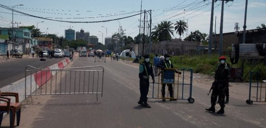 DR Kongo-Grenzen, desinfiziert business district zu kämpfen virus